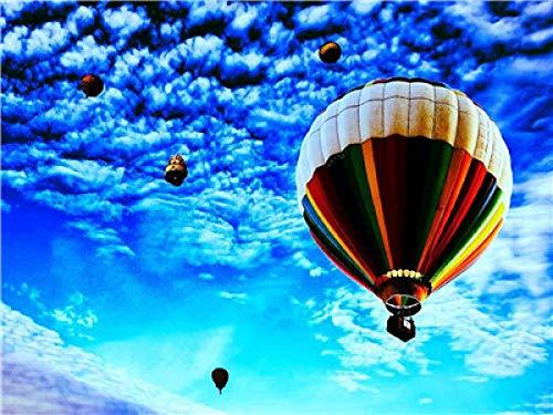 N/O Verf Door Getallen Blauwe hemel hete lucht ballon Voor Volwassenen en Kinderen DIY Olieverfgeschenken Kits Pre-Printed Canvas Art Home Decoratie 16x20 inch Frameless