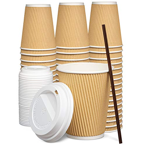 [100 Sets - 12 oz.] Insulated Ripple Paper Hot Coffee Cups With Lids