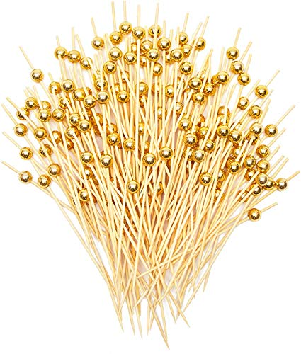 Gold Pearl Cocktail Picks, Bamboo Appetizer Toothpicks (4.7 Inches, 150 Pack)