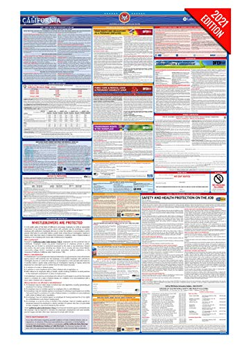 CA Labor Law Poster, 2021 Edition - State, Federal and OSHA Compliant Laminated Poster (California, English)