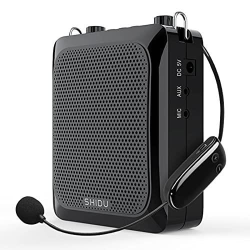 Amplificador de voz Bluetooth, amplificador de micrófono inalámbrico 25 W sistema de sonido portátil con micrófono, 2000 mAh batería de litio recargable para guardería/profesores/guías