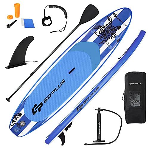 Goplus Tavola da SUP Gonfiabile Stand Up Paddle Surfboard SUP Paddle Tavola da Surf Paddleboard con Pagaia Regolabile, Pompa, Borsa e Pinne, Carico Fino a 130kg (335x76x16CM)