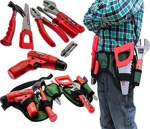 Kids Tool Set & Work Belt with Accessories Tools, Working Drill - Childrens DIY Toy Building Construction Pretend Play Tool Set
