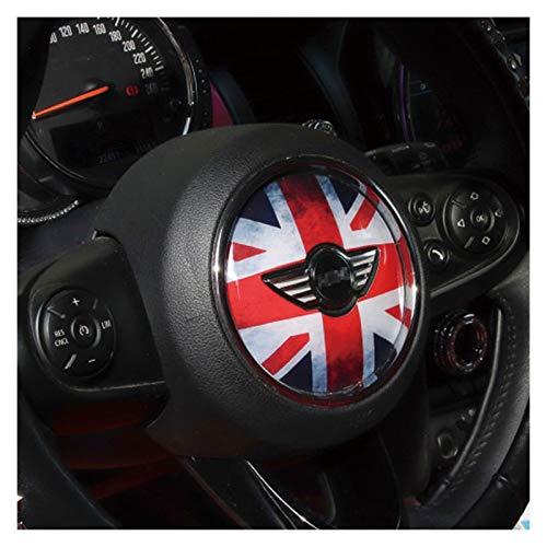 Lenkrad Dekorativer 3D-Aufkleber Auto Styling Zubehör Dekoration Für BMW Für Mini Für Cooper One JCW F54 F55 F56 F57 F60 Clubman (Color : Black red Flag)