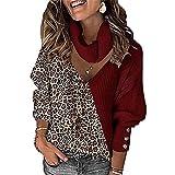 ZFQQ Otoño / Invierno Mujer Estampado de Leopardo Temperamento a Juego con Cuello en V Cuello Suelto suéter Calado