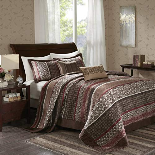 OS 5 Piece 118x120 Jacquard Brown Oversized King Bedspread Set to The Floor Set, Red Ivory Medallion Stripes Bedding Drapes Over Edge Hangs Down Sides Extra Long, Polyester
