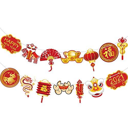 Jahr der OX Girlande 2021 Chinesisch Neujahr Flaggen Banner Frohes Neues Jahr Dekoration China Party Chinesisch Neujahr Zeichen Banner Hintergrund für Foto Stand Requisiten Party