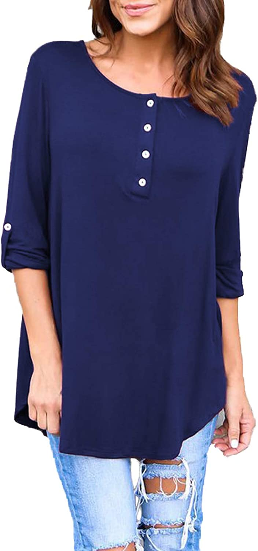 blueetime Women's Roll Up Long Sleeve Button Flowy Swing Tunic Tops Henley Shirts