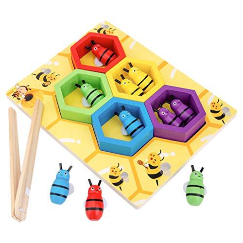 Tomaibaby Juguete de Habilidad Motora Fina para Niños Pequeños Juego de Combinación de Abeja a Colmena Montessori Rompecabezas de Clasificación de Color de Madera Aprendizaje Temprano