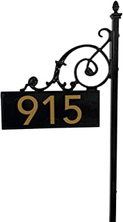 """ADDRESSES OF DISTINCTION Black Charleston Address Post with Reflective Numbers – 48"""" Tall Customized House Marker - Double Sided to Help Emergency Vehicles Find Your Home"""