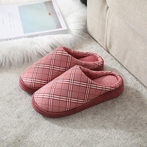B/H Calzado Interior Antideslizante de Felpa al Aire,Zapatillas de Invierno Gruesas y cálidas para Parejas, Zapatillas cómodas para el hogar-Red_38-39