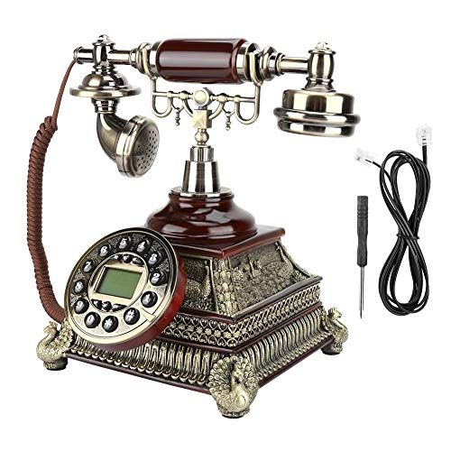 Tosuny Corded Phone, Landline Phone IDS-8975 Upgrade Edition Pearl White European Vintage Antique Telephone with Caller ID Corded Phone for Home Office School
