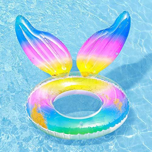 Queta - Meerjungfrauen-Schwimmring, aufblasbar, schwimmend, für Erwachsene, Boje, Rettungsring für Strand, Pool, Sommer, Party