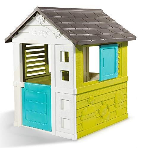 Smoby 810710 Pretty Spielhaus, Kinderspielhaus für Indoor und Outdoor, Gartenhaus Plastik für Kinder ab 2 Jahren, türkis