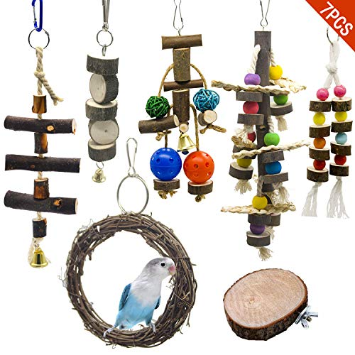WEIYU 7 Packs Bird Parrot Swing Chewing Toys-Natural Wood Blocks Parrot Tearing Cage Toys Best for Finch,Budgie,Parakeets,Cockatiels, Conures,Love Birds and Amazon Parrots
