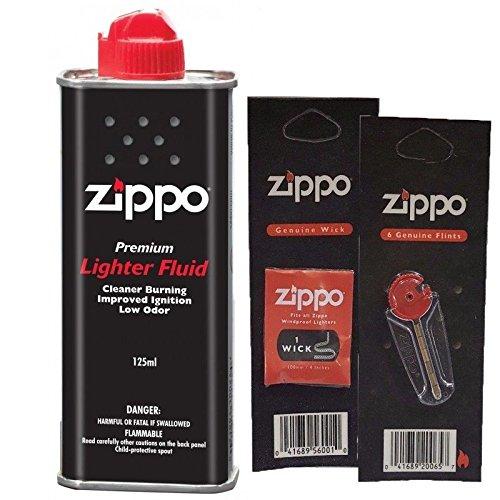 zippo - KIT RICAMBI ZIPPO ORIGINAL: 1 BENZINA 125 ML + 6 PIETRINE + STOPPINO