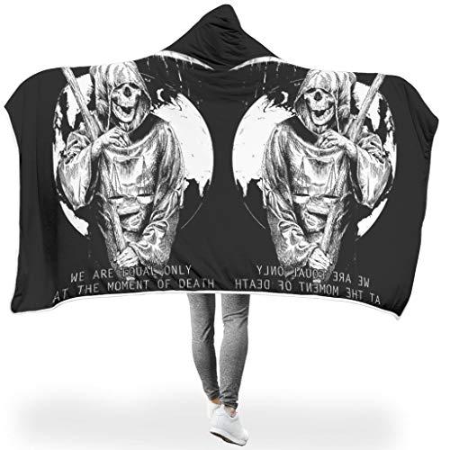 O5KFD & 8 Fledermuisdeken Scythe Skull Mirror Design Print microvezel draagbaar Throws Robe – Death Equal Universal past 's middagpauze te gebruiken