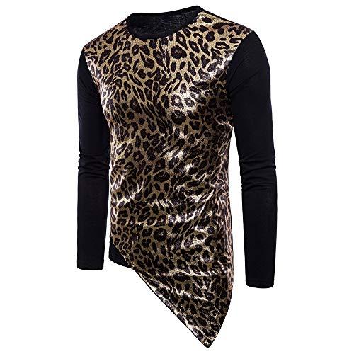 QWY Mode für Männer Leopard-Druck-T-Shirt Bequem Thermal,D-M