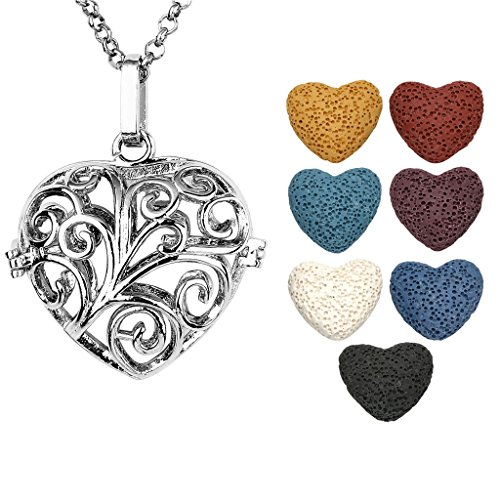 Jovivi Antique Silver Aromatherapy Essential Oil Diffuser Necklace Love Heart Locket Pendant with 7 Dyed Lava Rock Heart Stones
