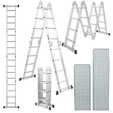 ARKSEN 15.5FT Platform Multi-Purpose Folding w/2-Free Plate Multi-Fold Step Aluminum Ladder EN131 Scaffold Extension