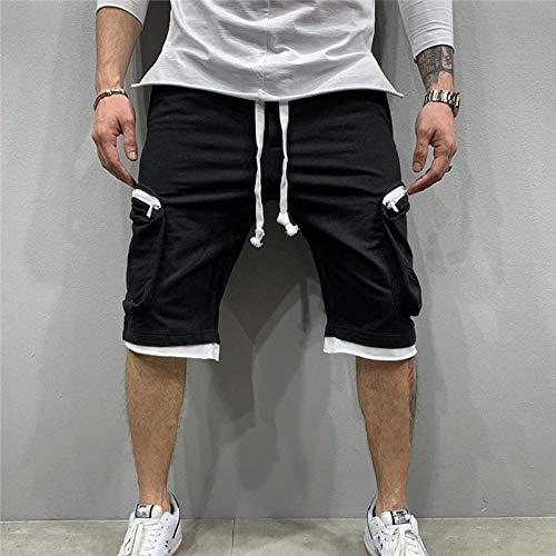 Kurz Hose Sommerschnelltrocknende Shorts Herren Jogginghose Casual Fitness Streetwear Herren Multi-Pocket Sport Casual Hip Cargo Shorts XXL Schwarz