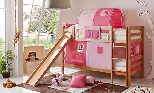 Etagenbett mit Rutsche Doppelbett Lupo Buche massiv Natur mit Farbauswahl, Vorhangstoff:Rosa Pink 3 teilig