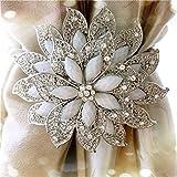 Alzapaños magnéticos de cristal con diseño de flores y diamantes, con abrazaderas de cristal, paquete de 1 unidad