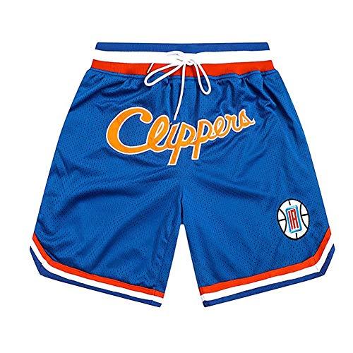 YSPORT Clippers Baloncesto Shorts Malla Bordado Alta Elasticidad Secado Rápido Respirable Pantalones Cortos (Color : Blue, Size : XXL)