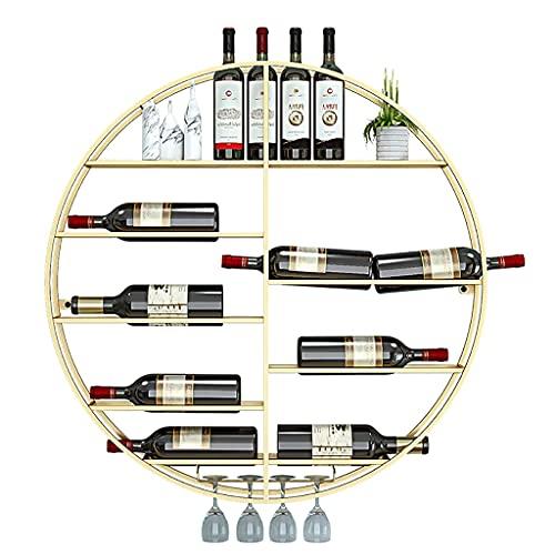 Estante de almacenamiento de estante de vino redondo, estante de exhibición de pared de vino, hierro metálico boca abajo copa de vino colgada, estante de decoración de botella de vino para barra de co