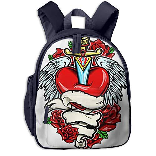 Kinderrucksack Kleinkind Jungen Mädchen Kindergartentasche Gebrochenes Herz Tattoo Messer Backpack Schultasche Rucksack