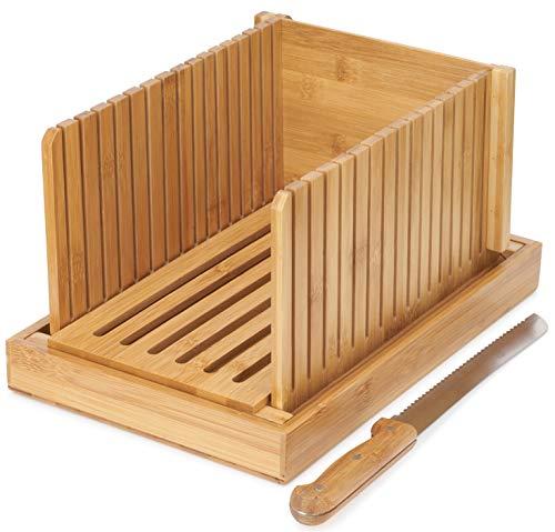 Swag Badger Bamboo Bread Slicer - Bread Slicer For Homemade Bread - Bread Loaf Slicer - Bread Slicer Guide - Bagel Slicer - Includes Knife - Crumb Catcher - Compact - Foldable