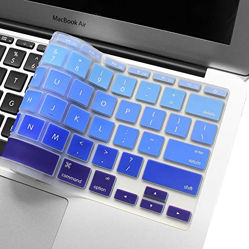 Silicone Keyboard Cover for US version 11.6 MacBook Air Model A1370 & A1465 11 inch Ultra Thin Protective Skin (1 PCS, Gradient- Blue)