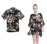 Couple Matching Hawaiian Luau Aloha Shirt Poncho Dress in Black Rafelsia XL