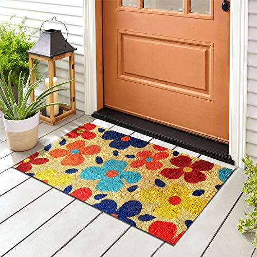 Banzaii Felpudo de Coco 40 x 70 cm Fijado a una Base de PVC Antideslizante con Estampado Colorido - Flores