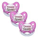 Dentistar® Schnuller 3er Set- Nuckel Silikon in Größe 3, ab 14 Monate - zahnfreundlich & kiefergerecht - Beruhigungssauger für Babys und Kleinkinder - BPA frei - Made in Germany - Pink Drama Queen