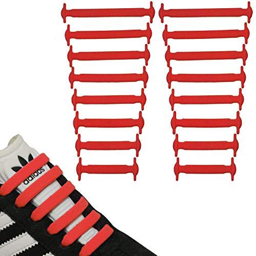 JANIRO Elastische Silikon Schnürsenkel flach | flexible schleifenlose Schuhbänder ohne Binden | Kinder & Erwachsene - Rot