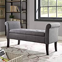Linon Ivy Charcoal Storage Bench