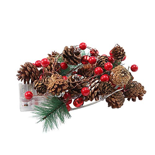YUESUO Christmas String Lights, Garland with Lights Fairy Lights Pine Cone Berries Indoor and Outdoor Christmas Tree Lights Winter Holiday New Year Decor, Battery Powered. (2M 20 Lights) (Pine Cone)