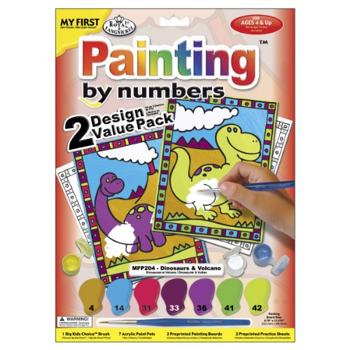 Royal & Langnickel My First Painting by Number Dinosaurs and Volcano Designed Painting Set (Pack of 2)