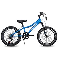 Hiland's 10'' steel frame low step-over design makes it easy to get on and off the bike. Flat handlebars provide responsive control when riding uncertain terrains,6 speeds with grip-type shifter to ease kids into how to use gears. Suspension fork wit...