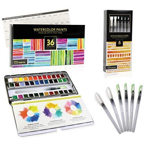 DOODLE HOG Watercolor Paint Set For Artists On-The-Go. Value Bundle Includes 36 Half Pans of Vibrant Water Color Palettes & 6 Refillable Water Brush Pen.