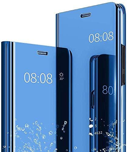Hülle für Oppo Realme 3 Pro Spiegel Handyhülle, Oppo Realme 3 Pro Flip Schutzhülle Clear View Ledertasche Handy Mirror Standfunktion Tasche 360 Grad Stoßfest Hülle Cover, Blau