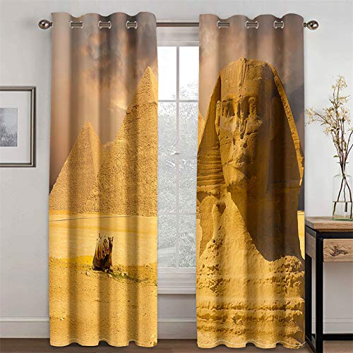 YUNSW Cortinas 3D De La Serie Amarilla, Cortinas Decorativas De Sombreado Y Reducción De Ruido para Sala De Estar Y Dormitorio, Juego De 2 (Total Width) 280x(Height) 245cm