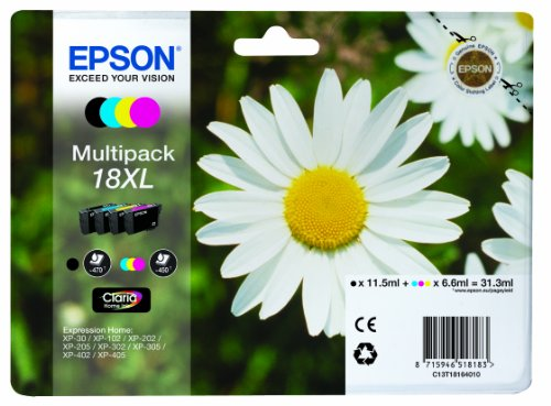 Epson 18Xl Serie Margherita Cartuccia Originale, XL, Multipack, 4 Colori, con Amazon Dash Replenishment Ready