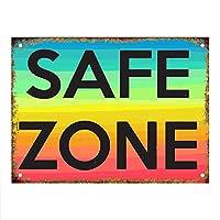 レインボーセーフゾーン 金属板ブリキ看板警告サイン注意サイン表示パネル情報サイン金属安全サイン
