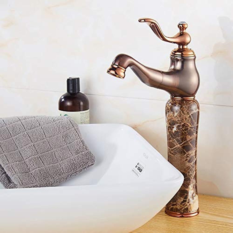 ZLL Home Hotel Badezimmer, Waschbecken, Waschtischarmaturen, Wasserhahn-Waschtischarmatur Alle Kupfer Einhand-Waschtischmischer Erhhen Sie Jade Bowlder Stein, Waschtischmischer Wasserhahn,Kaffee