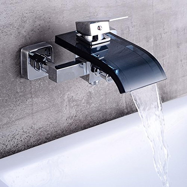 CZOOR Moderne Wasserfall an der Wand montierte Badewanne Füller Wasserhahn Mischbatterie Chrom beendete, Lh-8008 B