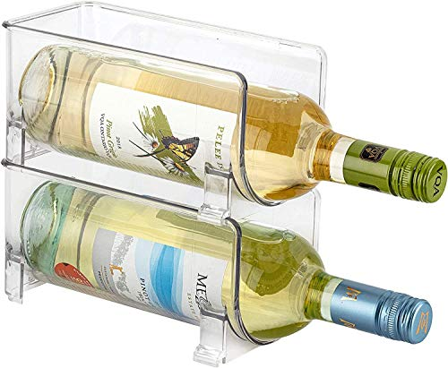 Set of 2 - Jinamart Free Standing Stackable Wine Storage Rack for Kitchen Countertops, Pantries, Cupboard, and Bar Counter| Acrylic Clear Plastic Fridge Wine Bottle Holder/Organizer - Holds 2 Bottles