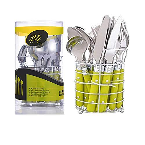Alaskaprint 24-teiliges Besteckset Besteck Set taffelbesteck aus Edelstahl inkl. Messer, Gabel, Löffel, Teelöffel Essbesteck für 6 Personen, Spiegelpoliert, Spülmaschinenfest (Silber auf Grün