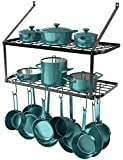 GeekDigg 29.5 Inch Wall Mounted Pot Rack Storage Shelf with 2 Tier 10 Hooks Included, Kitchen Pot Racks Hanging Storage Organizer (Black)